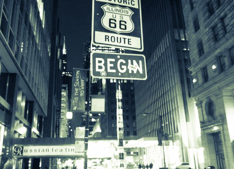 Route 66 begins in Chicago