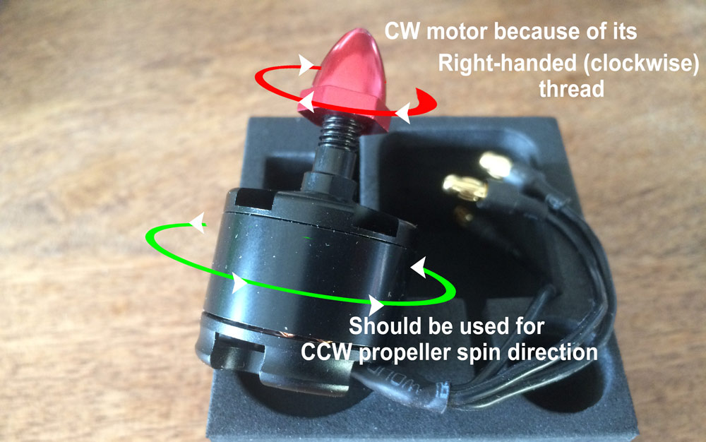 Multicopter motor -- CW / CCW explained