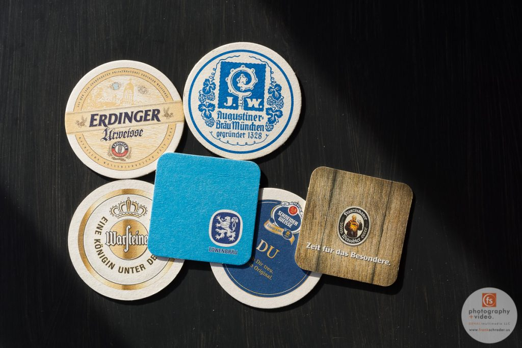 Coasters, cardboard coasters, typical for all beer places in Germany