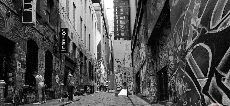 Graffiti in Hosier Ln, Melbourne, Australia. Note: Please respect the copyright of the graffiti artists!