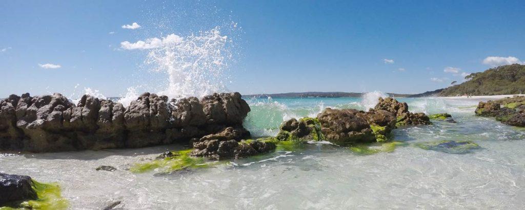 Waves splashing onto a beach