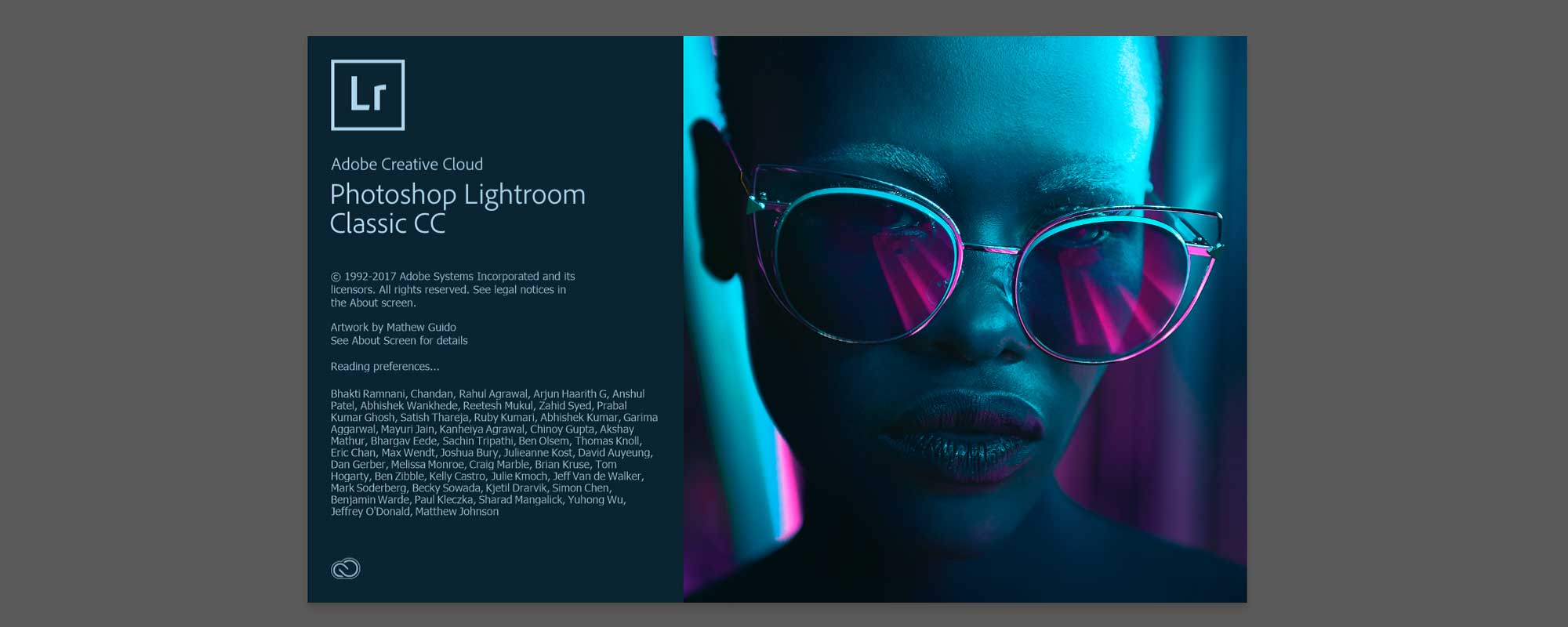 Adobe Lightroom Classic CC Version 2018 start screen