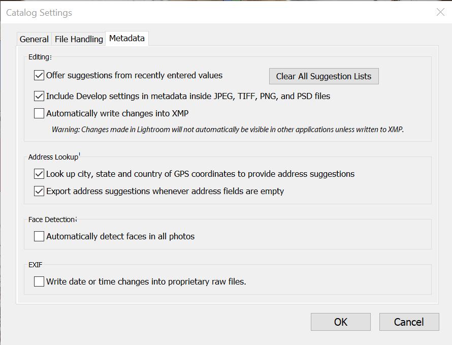 LR catalog settings Metadata