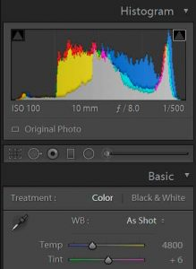Screenshot of a Histogram and the WB adjustment in Adobe Lightroom CC