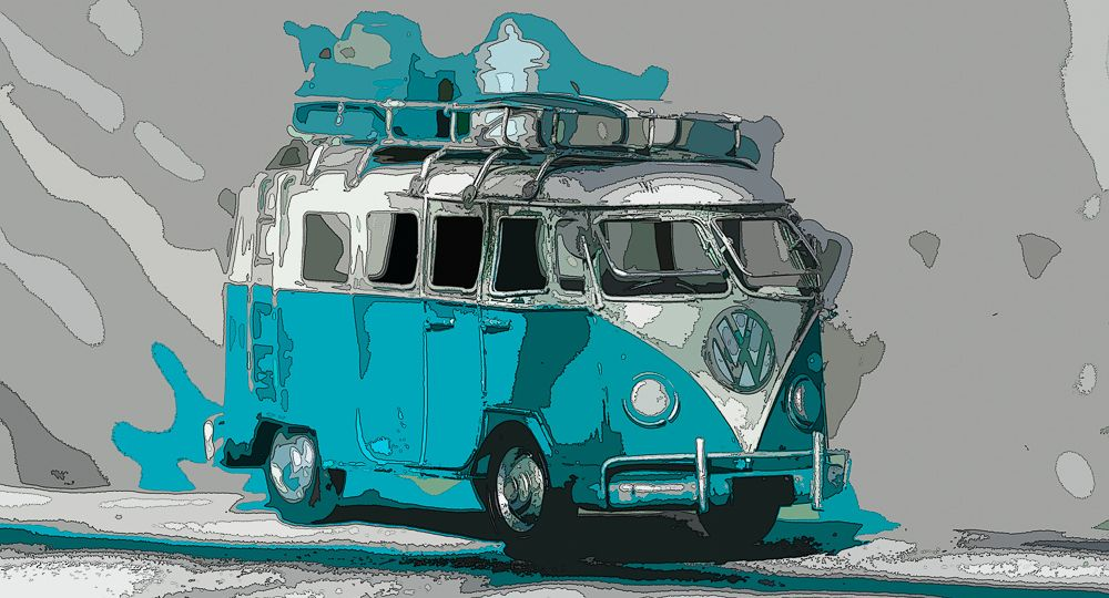 VW Bus Aqua / Pop Art