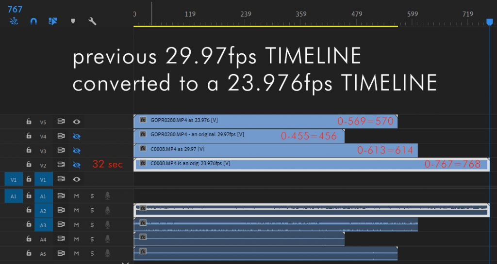 An originally 29.97 timeline converted to a 23.976 timeline
