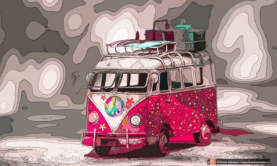 Pop Art VW Bus Flowers in Pink