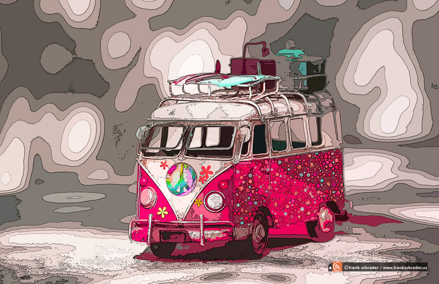 Pop Art VW Bus Flowers in Pink