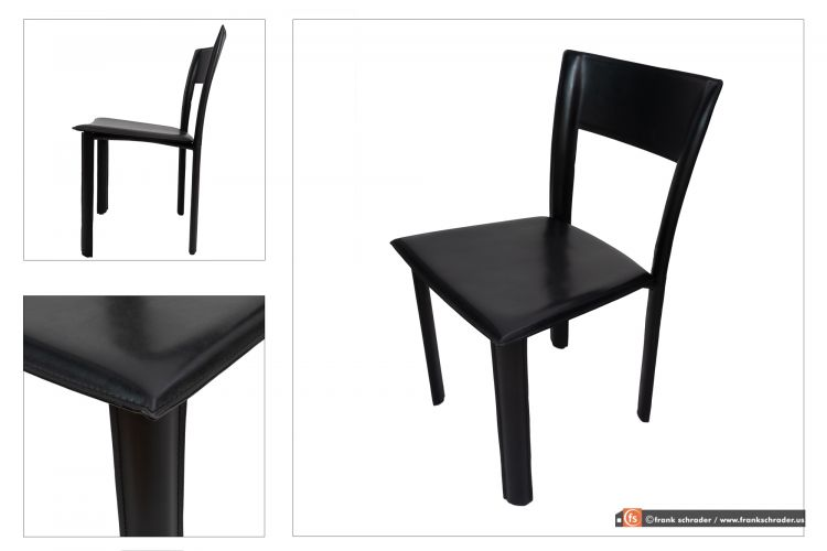Product Photography: Black Leather Dining Chair. 3 angles composite