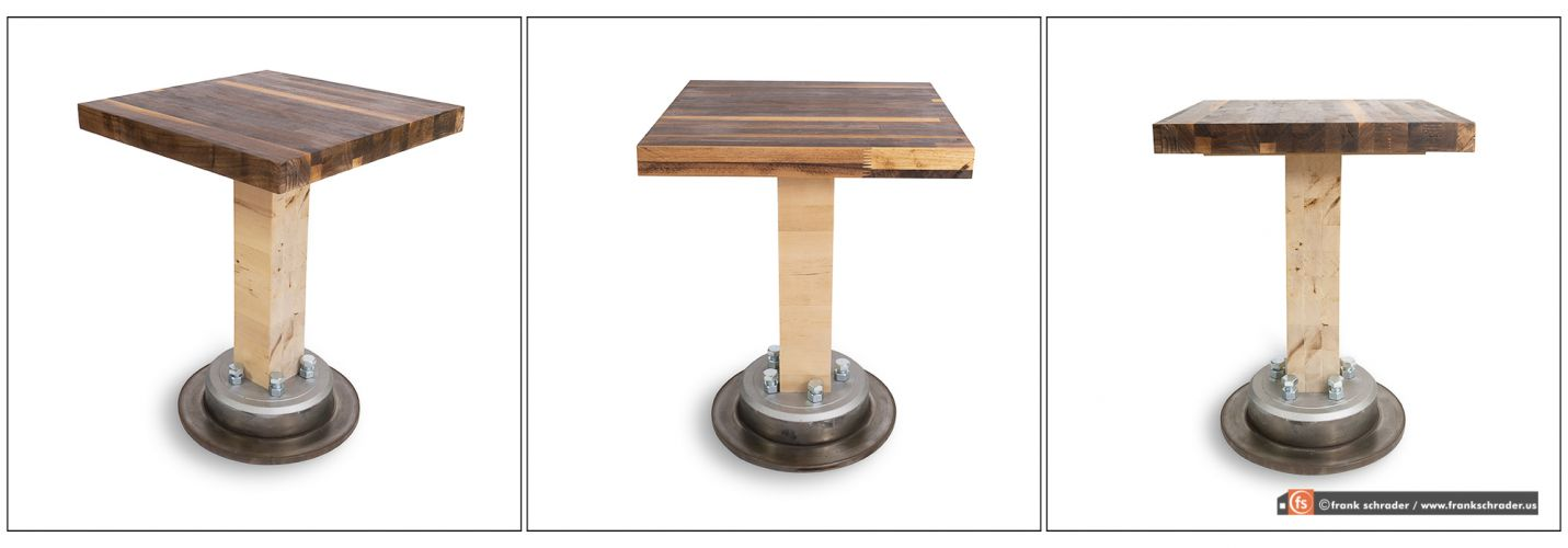 Product Photography: Designer Industrial-style side table on white background