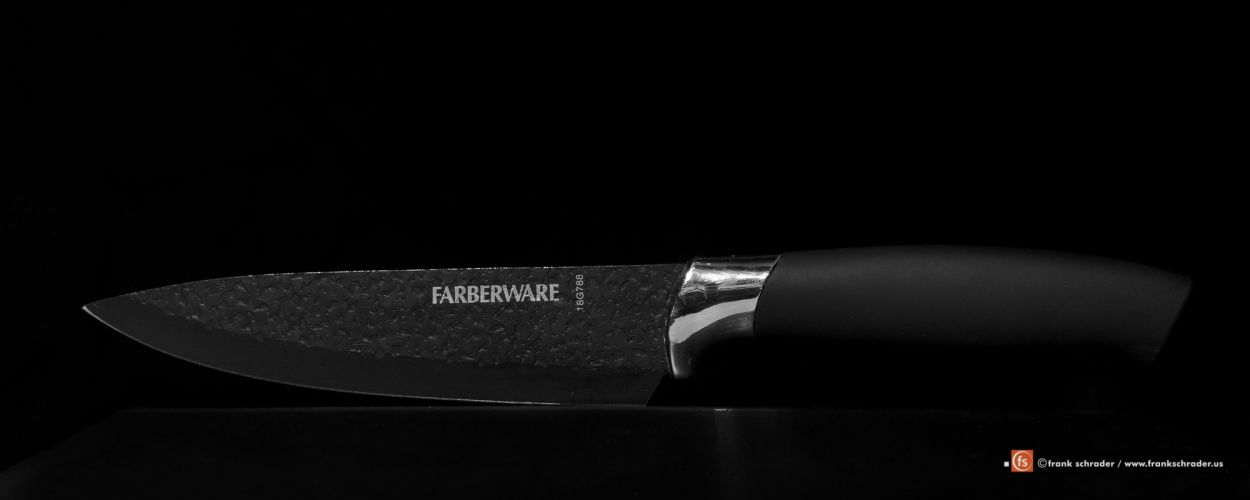Product Photography: knife on black background